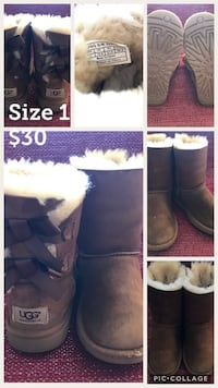 UGG Big Kids Bailey Bow Classic Boots Brown US kids Size 1 Alexandria, 22304