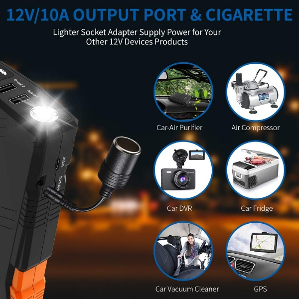 Battery Chargers Power Pack Up to 8.0L Gas, 6.5L Diesel Engine VAVOFO 1500A Portable Jump Starter G23P with QDSP 12V Auto Battery Booster 12800mAh Built-in LED Light
