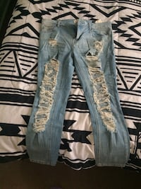 distressed blue-washed jeans Winnipeg, R2W 1K9