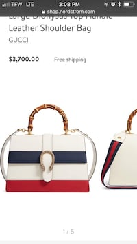 white and red leather tote bag Forest Park, 45240