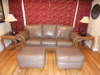 Full Size Leather Couch, Two Chairs and Ottomans Denver