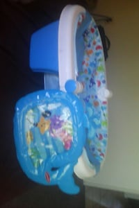 blue, white, and red Fisher Price bather