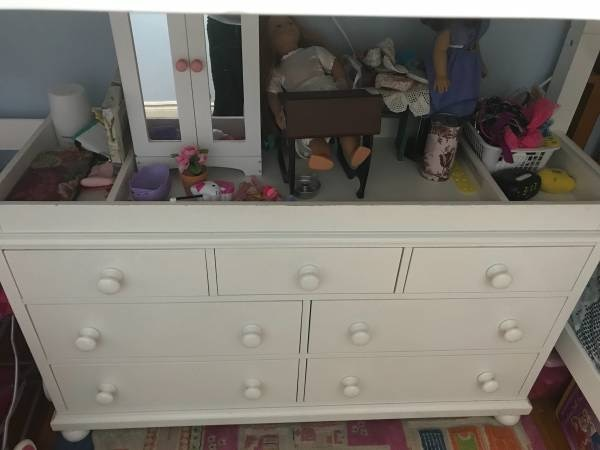 57afeef66596 Pottery Barn Kids PBK Catalina Double Wide Dresser with Changing Table  Topper