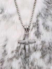 Sterling Silver Bead Cross Cz Necklace