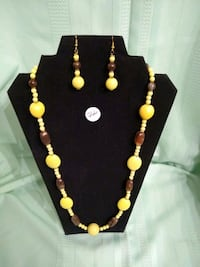 black and yellow beaded necklace Selma, 93662