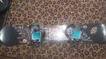 K2 snowboard with Ride bindings