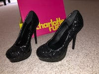 Pair of black platform stilettos. Never worn, size 8. Charlotte Russe Ashburn