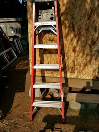 red and gray Werner A-frame ladder Maple Ridge, V2W 1M4