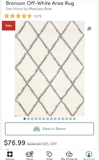 6 x 4 new area off white and gray shag rug