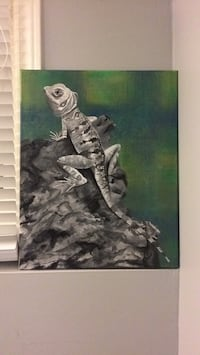 Black and White Lizard on rock Original Acrylic Painting St Catharines, L2T 3K7