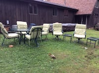 Patio set outdoor. Table, chairs swivel and stand