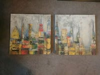 2 Canvas Style City Abstracts Philadelphia, 19128