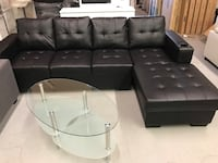 Brand brand black faux leather sectional sofa with cup holder on arm rest warehouse sale  多伦多