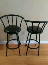 two black leather padded bar stools Brampton, L7A 1R9