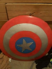 red, white, and blue captain america shield.  Belton, 64012