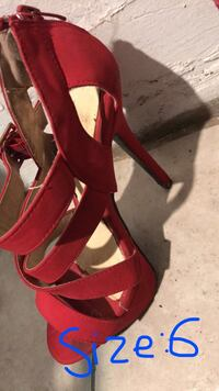 pair of red suede platform stiletto shoes Bakersfield, 93309