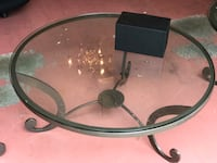 Round black metal frame glass top table Silver Spring, 20901