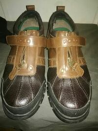 pair of brown Polo leather shoes