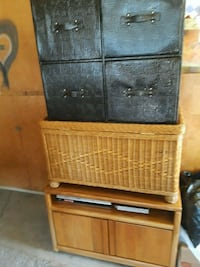 Four drawers, Wicker TBle/ Chest & Roller Cabinet