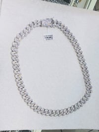"""Men's iced out Miami Cuban chain 22"""" silver tone  New York, 11373"""
