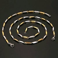 Versace Brand Gold Silver Fill Stainless Bracelet Necklace Set Italy London, N6P 1P6