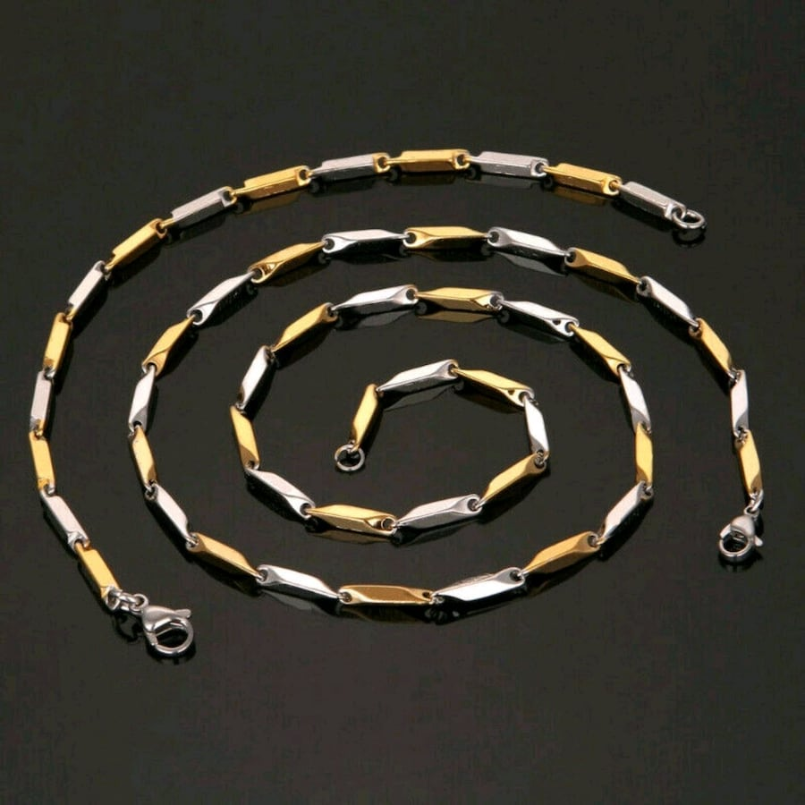 Versace Brand Gold Silver Fill Stainless Bracelet Necklace Set Italy