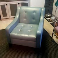 Lind Light Blue Leather Chair 3151 km
