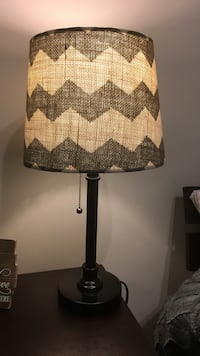 Used Black Wooden Table Lamp With Gray And White Chevron