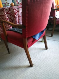 brown wooden framed red padded armchair 3751 km
