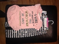 pink cap-sleeved shirt and black-and-white stripe pants Hiram, 30141