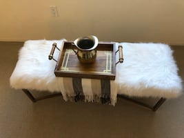 Faux Fur White Bench