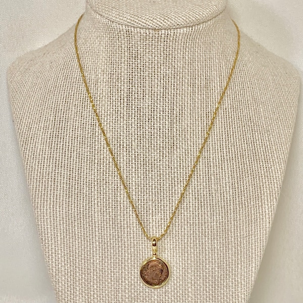 Genuine 14k Gold Roman Coin Pendant with 14k Rope Chain d4a23b44-9305-4910-8ed0-02a267dc9c3d