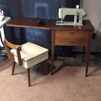 1967 Sears Kenmore Mid-Century Sewing Table with chair Girard, 44420