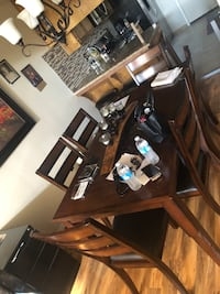 rectangular brown wooden table with six chairs dining set 2335 mi