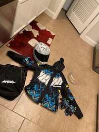 Jacket gloves helmet and bag for helmet it originally came with