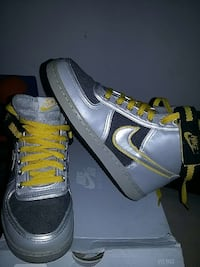 gray yellow and black nike high top sneakers