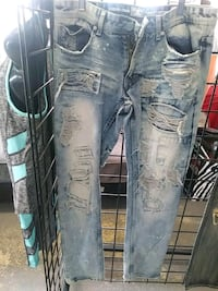 distressed blue-washed jeans Suitland-Silver Hill, 20746