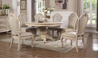 Traditional Antique White Oak Round Dining Table set 5Pc  Rockville, 20850