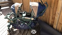 Baby's blue and gray tandem stroller 3158 km