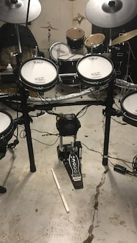 black and white electric drum set