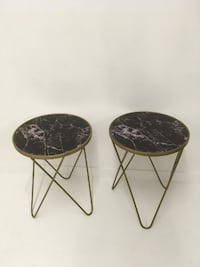Set of 2 gold round side tables Abbotsford