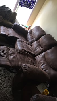 Brown leather 3-seat sofa with two reclining chairs  Stockton, 95204