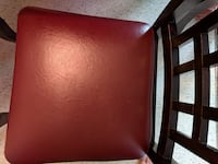 Brown wooden framed red leather padded armchair Hamilton, L8N 3W3