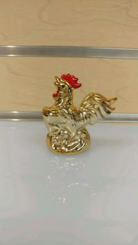 Smaller Ceramic Rooster Figurine ( NEW ) gold & red