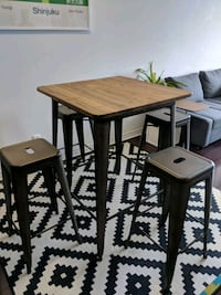 square brown wooden table with four chairs dining  Toronto, M2K 0A3