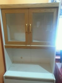 brown wooden microwave cabinet with glass shelf Surrey, V3W 5J6