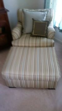 Dark gold, celedon green, sky blue striped chair Leesburg