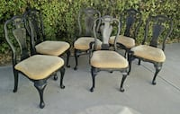 solid wood upholstered dining chairs, black and gold, set of 6 Redwood City