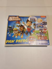 Paw Patrol 5 Wood Puzzles In a Storage Box  Milton