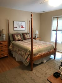 Pine double bed, bedside table, desk, chair